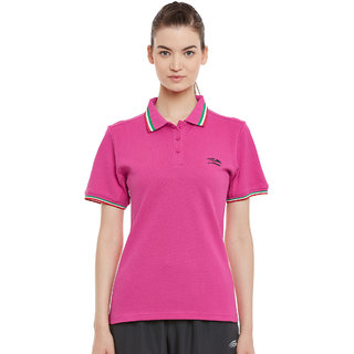 PERF Women Pink Rush Cotton Regular Fit Polo Tshirt
