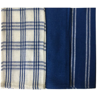 Lushomes Super Absorbent and Soft Blue Kitchen Towels (13 x 22 Pack of 3)