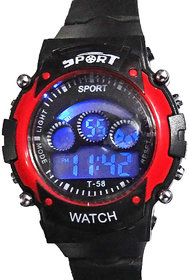 1M Black and Red Digital Kids Watch