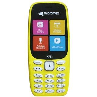 Micromax X751 Dual SIM Basic Phone (Yellow)