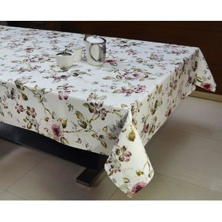 White Floral Print Table Cover