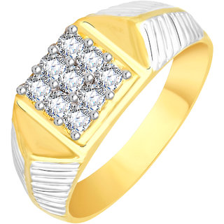 Vidhi Jewels Gold Plated Traditional Look Diamond Studded Alloy & Brass Finger Ring For Men and Boys [VFR356G]