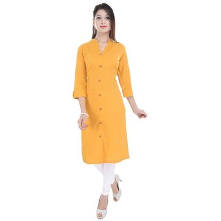 Purvahi Mango yellow solid color plain kurti
