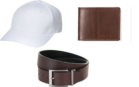 Combo of White Cap,Brown Belt and Brown Wallet(Pack of 2)(WCAPBRBBRW)