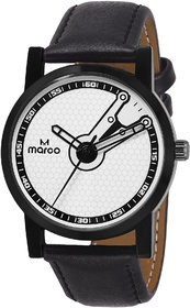 MARCO White Dial Black Strap Analog Men's Watch