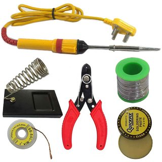 6 in1 Electric Soldering Iron Stand Tool Wire Stripper Kit 25 Watt Welding Stick Set