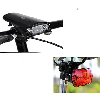 Combo of Bright 8 LED Multi functional Bike Bicycle Headlight 5 LED Rear Tail Flashing Lights ( Assorted Colors )