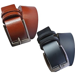 Mix of Leatherite black and brown needle pin point buckle combo belt (Pack of two) (Synthetic leather/Rexine)