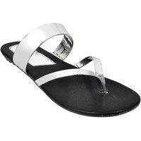 Altek Stylish Plain SIlver Patent Flats For Women (foot
