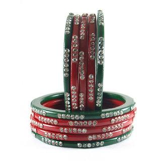 Sukriti Rajasthani Bridal Red Green Chura Bangles for Women - Set of 10