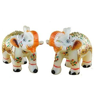 Marble Elephant Pair Set Meenakari Hand Painted Showpiece 2.5x2