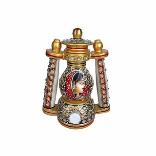 Marble Lantern / Lamp with Bani Thani Hand Painting Rajasthani meenakari work - 8