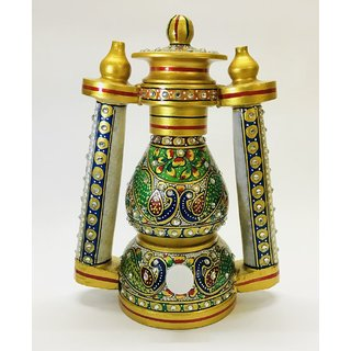 Marble Lantern / Lamp with Peacock Hand Painting Rajasthani meenakari work - 8