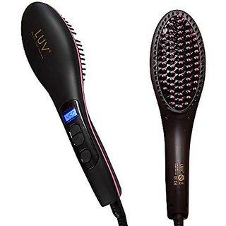 Luba Luv Professional Hair Straightener Brush Nano 3 In1 Straightening Lcd Temp Display