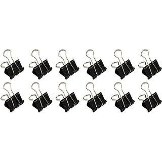 Pin to Pen Pin to Pen 15 MM Steel Binder Clip (Set of 12, Black, Steel)