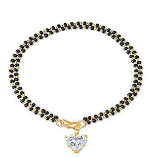 Bandish Heart shaped American Diamond Double Bead Bracelet