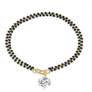 Bandish Round Solitaire American Diamond Double Bead Bracelet