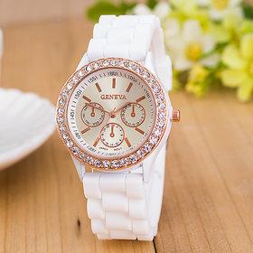 HK Geneva Diamond Bezel White Silicone Strap Analog Watch For Women, Girls