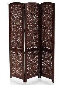 Shilpi Handcrafted 3 Panel Premium Quality Wooden Room Partition / Wooden Amazing Design Room Divider