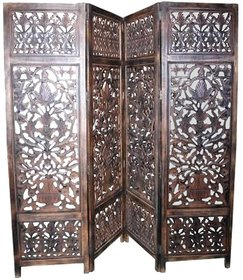 Shilpi Assume Wooden Screen Divider 4 Panel / Classic Look Wooden Room Partition