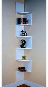 sunshinewood mdf wall shelf zig zig coner white no. of shelves 5