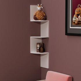 sunshinewood size 20x20x78 wall utility  coner shelf zig zig  3d white no. of shelves 3
