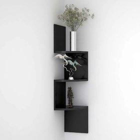 sunshinewood size L20Xw20xh20 zig zig wall shelf  coner black no. of shelves 3