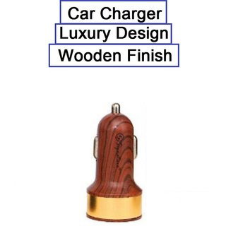 Car Charger Wooden Finish luxury Design 2 Amp (1-1) 2 USB Port , Golden For Chrome book Pixel