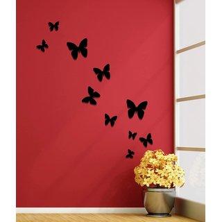 Jaamso Royals Arts Wall Decor Black Butterflies Acrylic 3d Wall Art Sticker 10 Pcs