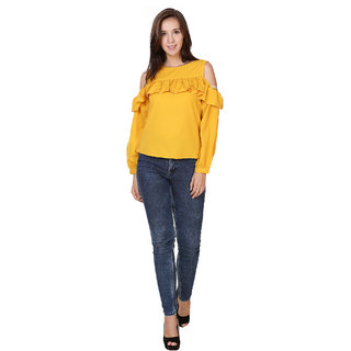 Sketches Poly Crepe Crop Tops - Yellow