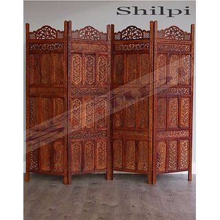 Shilpi Beautiful Hand Carving Sheesham Wood Screen 4 Panel Wooden Room Separator Zigzag Position