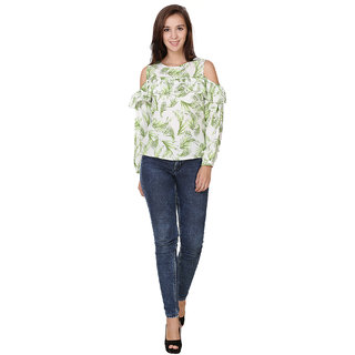 Sketches Poly Crepe Crop Tops - Green