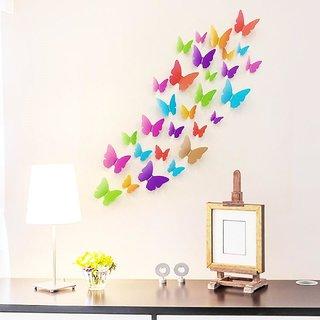 Jaamso Royals 'Multicolor 3D Butterflies' Wall Sticker 1 Combo of 19 Piece (PVC Vinyl, 21 cm x 29.7 cm , 3D Stickers )