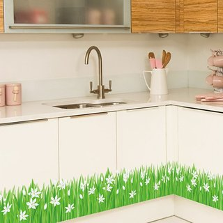 Jaamso Royals 'Green Grass Cute Little Flowers ' Wall Sticker (PVC Vinyl, 70 cm X 50 cm, Decorative Stickers)