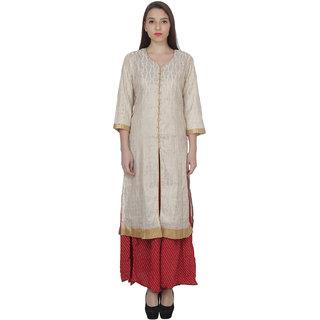 NIOMI  3/4 Sleeves  stylish Beige Kurti For Girls/Women's
