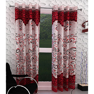 India FurnishPanel Design Maroon Color Eyelet Curtain Door Length Set of 2