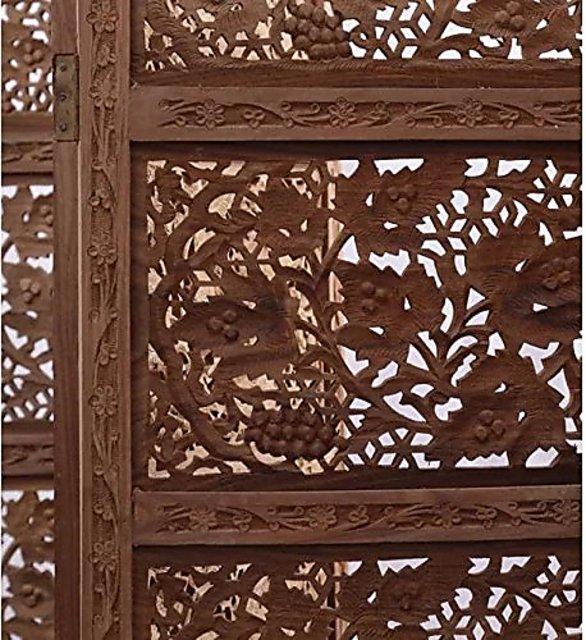 Shilpi Wooden Decorative Room Screen Partition 4 Panel Wooden Room Divider Jali Design