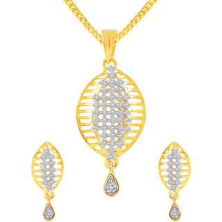 MJ Smooth CZ Gold Plated Pendant Set For Women