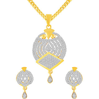 MJ Comfortable CZ Gold Plated Pendant Set For Women