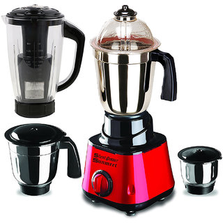 SilentPowerSunmeet Red Color 600Watts  Mixer Juicer Grinder with 4 Jar (1 Juicer Jar with filter, 1 Large Jar,  1 Medium Jar and 1 Chuntey Jar)