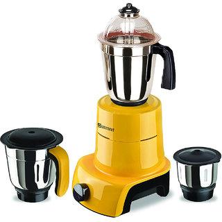 Sunmeet Yellow Color 800Watts Mixer Juicer Grinder with 3 Jar (1 Large Jar 1 Medium Jar and 1 Chuntey Jar)