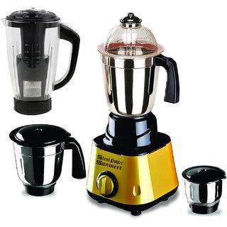 SilentPowerSunmeet Golden Color 550Watts Mixer Juicer Grinder with 4 Jar (1 Juicer Jar with filter 1 Large Jar  1 Medium Jar and 1 Chuntey Jar)