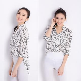 Clothfab Women's Crepe Fabric Designer Digital Printed Casual Shirt (White-Colour)