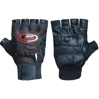 Pickadda Leather Multipurpose GYM Gloves With Padded Palm Support Net Upside (Black)