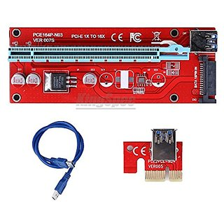 USB3.0 PCI-E PCI Express 1X to 16X Riser Card Adapter + 60cm15pin SATA Cable