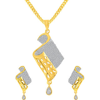 MJ Eye-catching CZ Gold Plated Pendant Set For Women