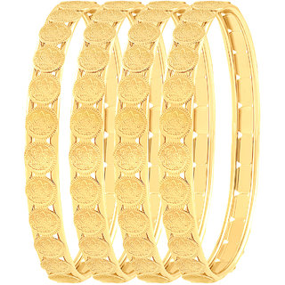 MFJ FASHION JEWELLERY Gold Plated Gold Alloy Plated Bangles For Women Pack of 4