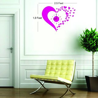 Ascent Pink Heart Wall Sticker Clock For Living Room Pvc Vinyl 35cm17cm5cm