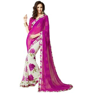 Snh Export Pink Georgette Printed Sarees With Blouse