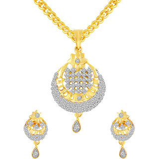 MJ Floral CZ Gold Plated Pendant Set For Women